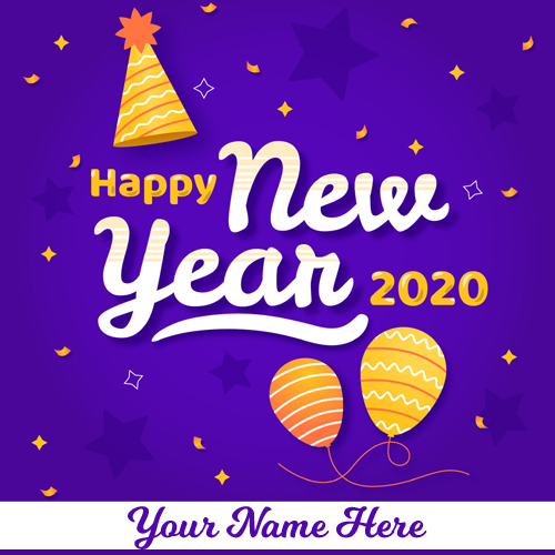 Write Name on Happy New Year 2020 Greeting Card