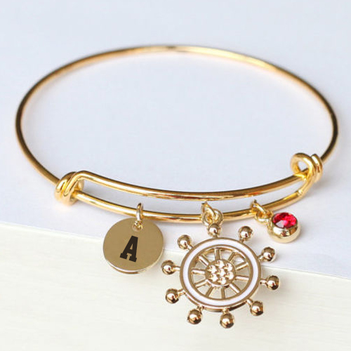 Rubber Birthstone Bangle Bracelet With Name Alphabet