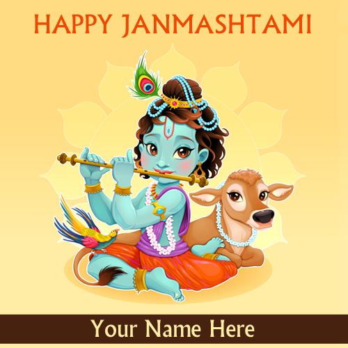 Write Name on Happy Krishna Janmashtami 2018 Greeting