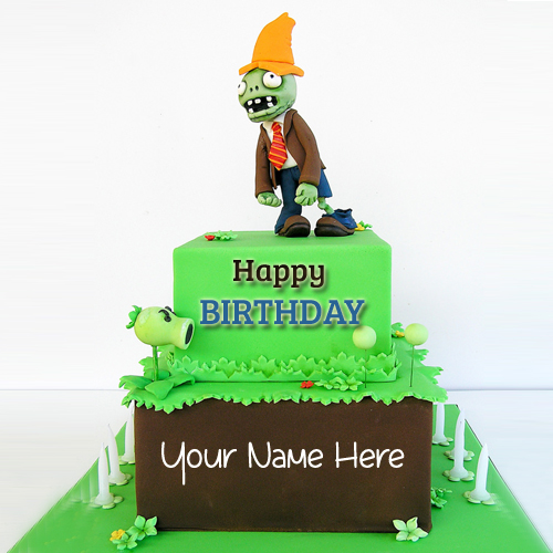 Write Name on Amazing Plants vs Zombies Birthday Cake