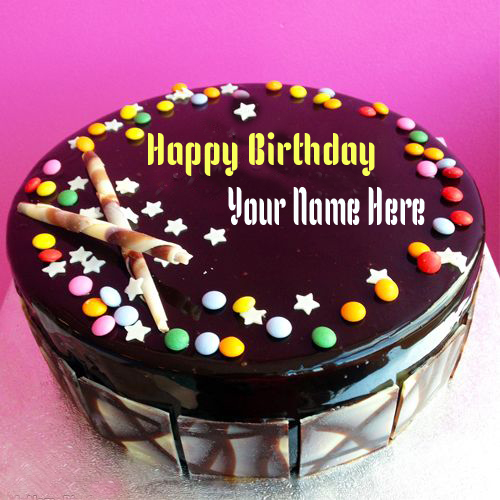 WRITE NAME ON Write Name On Gems Chocolate Happy Birthday Cake Online ...