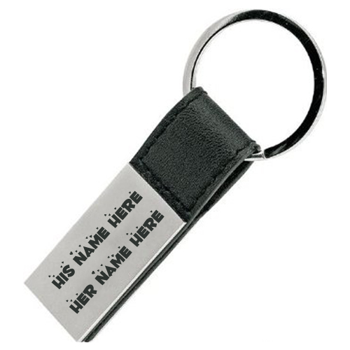 Write His and Her Name on Nice Steel Keychain