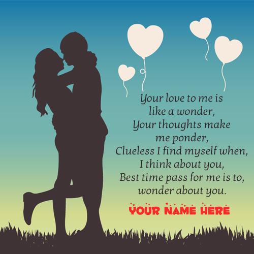 Romantic Love Couple Quotes Greeting With Your Name