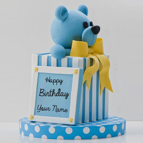 Write Name on Happy Birthday Teddy Bear Gift Photo Cake