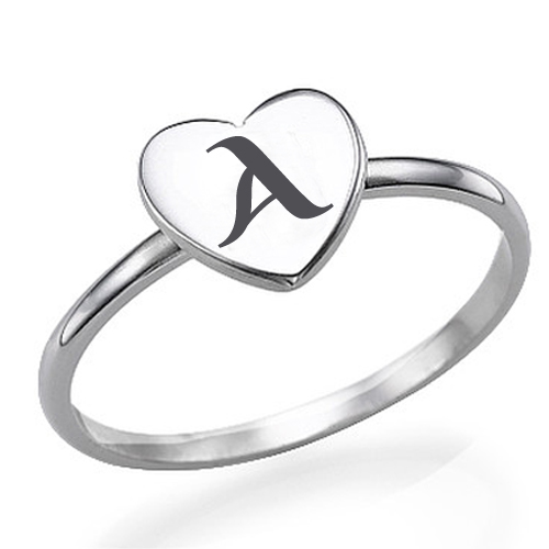 Write Alphabet on Heart Shape Silver Ring Online Free