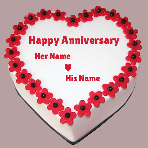 Happy Marriage Anniversary Heart Cake Namepix