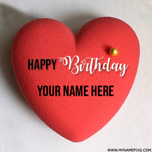 Heart Shape Red Birthday Wishes Cake With Lover Name