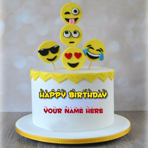 Cute and Funny Emoji Cake For Birthday With Your Name