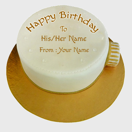 Write Name on Clock Shape Birthday Wishes Cake