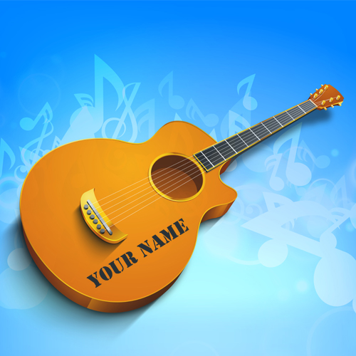 Write Name on Stylish Guitar on Musical Notes Picture