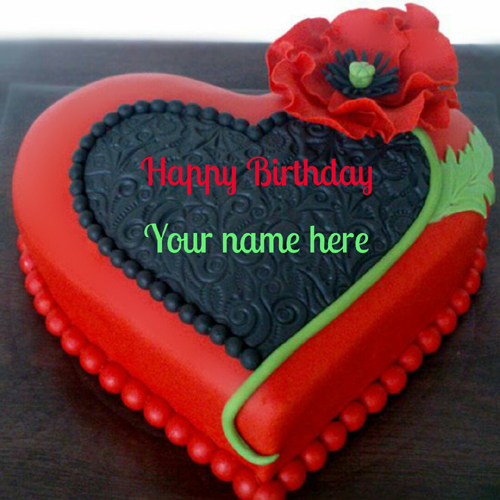 Happy Birthday Vintage Designer Heart Cake With Name