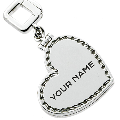 Write Name on Silver Heart Keychain Online