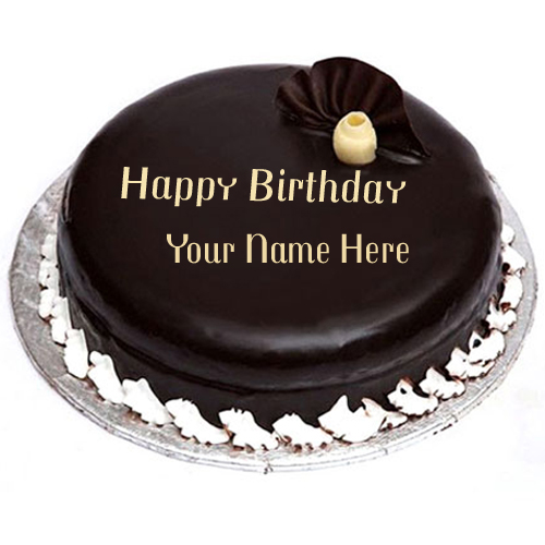 Write Name on Dark Chocolate Birthday Cake Online Free