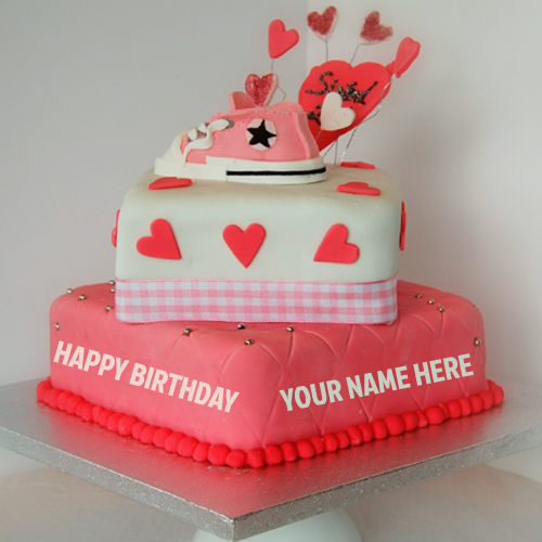 Cake Images With Name Vinay : Write Name On Beautiful Pink Heart Birthday Cake Online