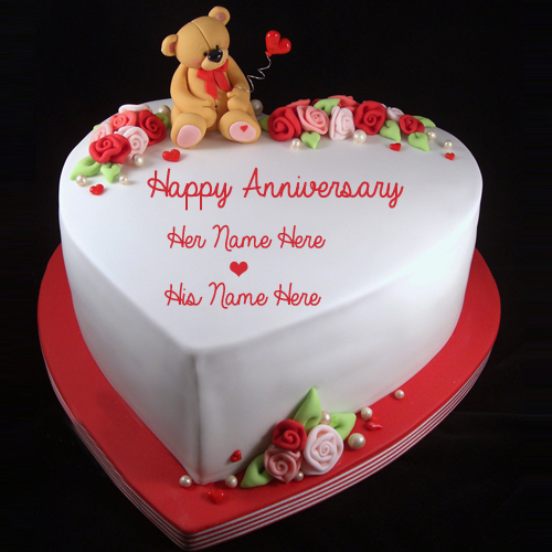 Happy Anniversary Wishes Romantic Teddy Cake With Name