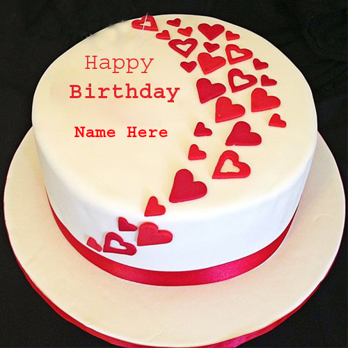 Love Cake Images With Name Editor : Happy Birthday Heart Cake With Your Name For Profile DP