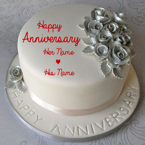 Silver Wedding Anniversary Cake With Love Couple Name