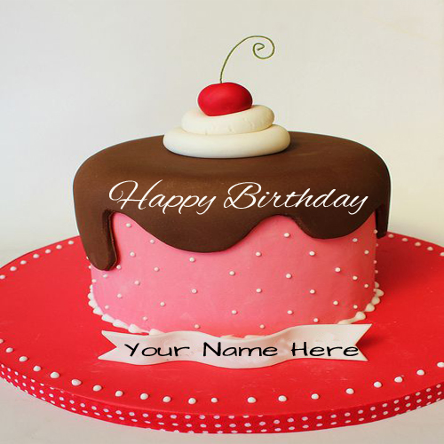 Write Name On Beautiful Cherry Birthday Cake For Friend