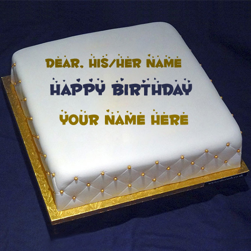 Happy Birthday Multipurpose Square White Cake With Name