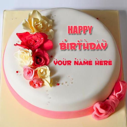 Name Birthday Wishes Cake Pic With Fondant Flowers