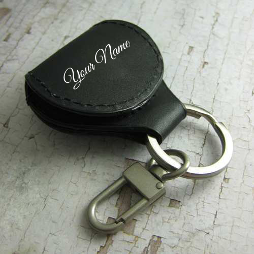 Write Name on Black Leather Guitar Pick Holder Keychain