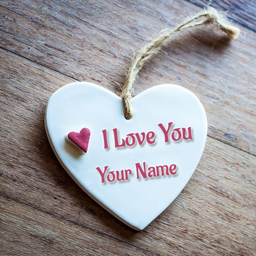 Write Lover Name on Romantic Wooden Heart Profile Photo