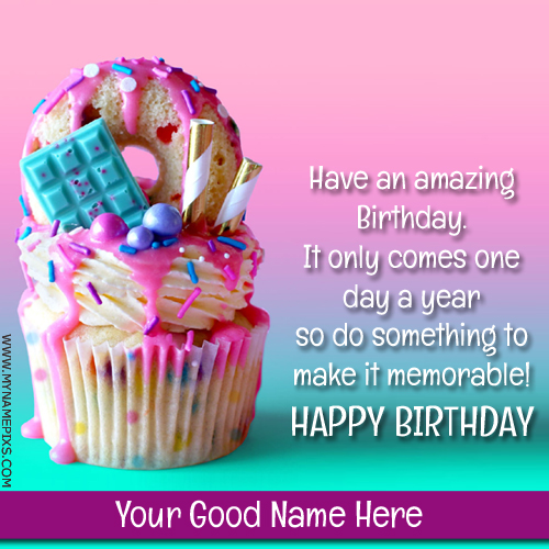 Write Name on Happy Birthday Cup Cake Greeting Card