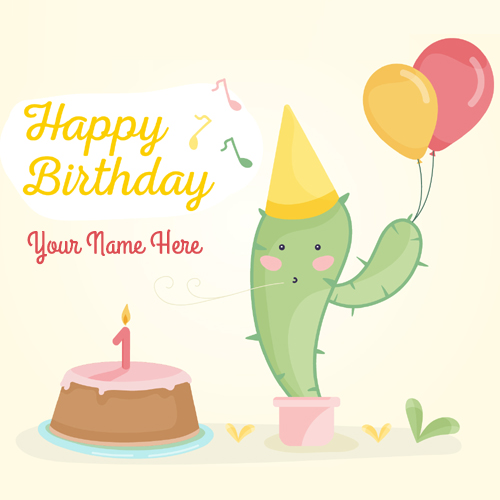Write Name on Birthday Celebration Party Greeting Card