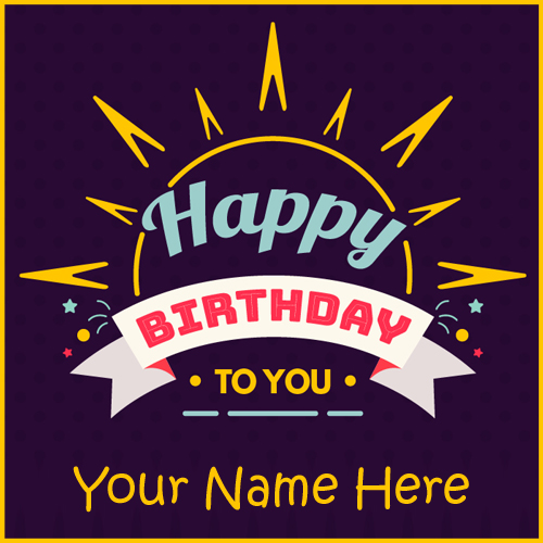 Colourful Badges for Birthday Wishes Greeting With Name