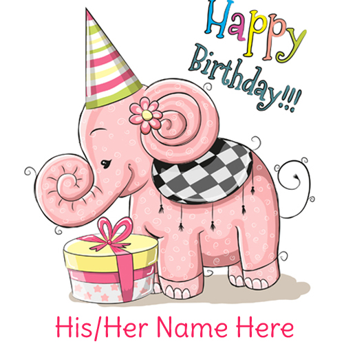 Write Name on Cute Elephant Happy Birthday Card
